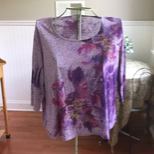 Coldwater Creek Print Top 2X Shades of Purple